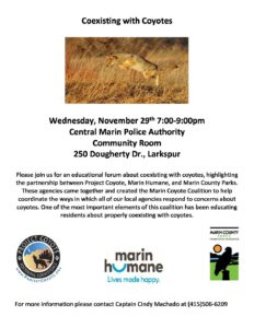 Coexisting with Coyotes @ Central Marin Police Authority - Community Room | Larkspur | California | United States